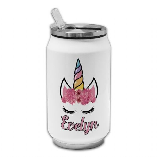 Personalised Cute Floral Unicorn Novelty Thermos Drinking Can